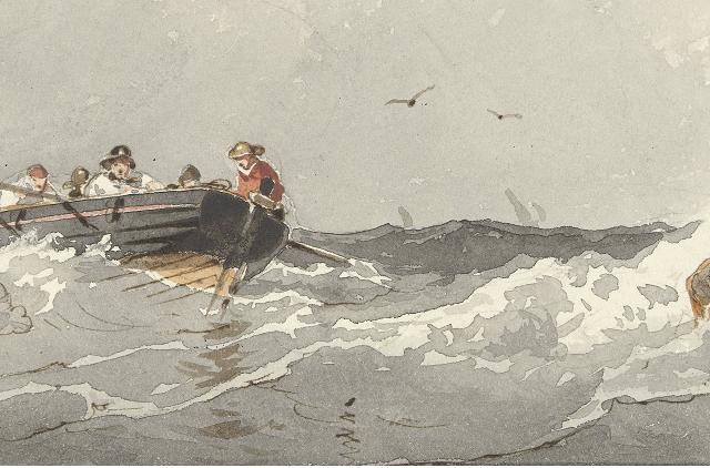 Roeiboot op zee, Frans Arnold Breuhaus de Groot, 1834 - 1872